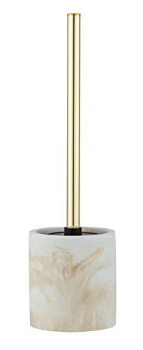 WENKO WC-Garnitur Odos, hochwertiger Bürstenhalter aus stabilem Polyresin in Marmor Optik, inklusive Toilettenbürste, Ø 7,5 x 37 cm, Weiß/Gold