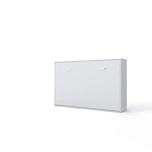 Invento Schrankbett Wandklappbett Horizontal Wandbett Bettschrank Funktionsbett Gästebett Klappbar Schrank mit integriertem Klappbett Gästezimmer Wohnzimmer Schlafzimmer 120x200 (Weiß/Weiß Matt)