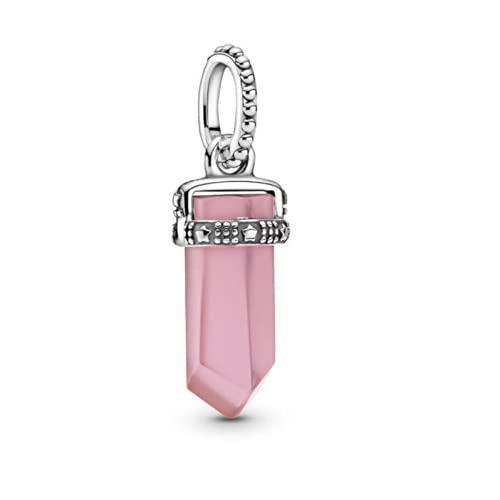 Annmors Pink Crystal Charm for Women 925 Sterling Silver Dangle Pendant Gemstone for Spiritual Energy Healing Pendant Divination for Men