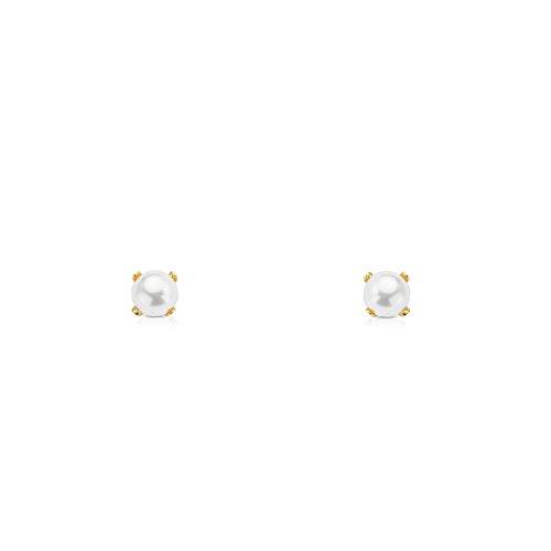 Monde Petit T1660P - Pendientes de bebe/niña oro 18 kts. de perla
