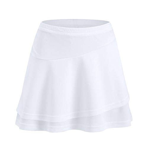 Breathable Tennis Badminton-Hosen-Rock-Frau Pantskirt Sport Röcke for Badminton Jogging Fitness Schwarz Weiß Anti-geleert (Color : White, Size : XXL)