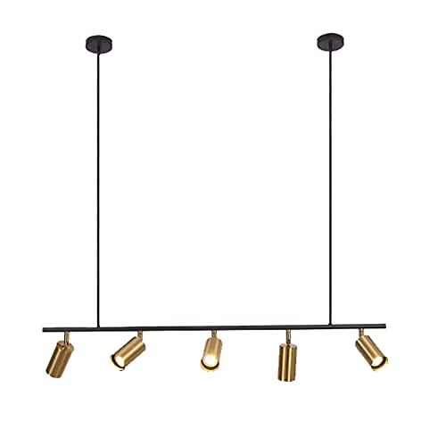 FACAZ Lámpara Colgante de Metal Moderna, lámpara de araña de Hierro Forjado, Foco Giratorio E27, Altura Ajustable para Sala de Estar, Comedor, Tienda de Ropa, Dorado, 5 Luces