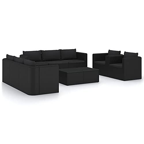 vidaXL Set de Muebles de Jardín 10 Piezas Cojines Mobiliario Exterior Terraza Balcón Hogar Cocina Mesa Silla Asiento Ratán Sintético Negro