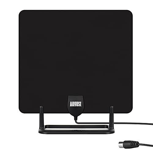 Antenne TV d'Intérieur Puissante Numérique TNT HD – August DTA450 – avec Socle, discrète, câble de 3m UHV VHF - Maison Camping-Car Caravane - France - Noir