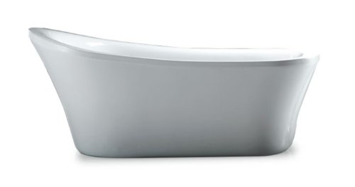 Ove Decors Rachel 70 Freestanding Bathtub in Glossy, Contemporary Soaking Tub with Chrome Pop Up Drain and Waste Overflow, Pure white