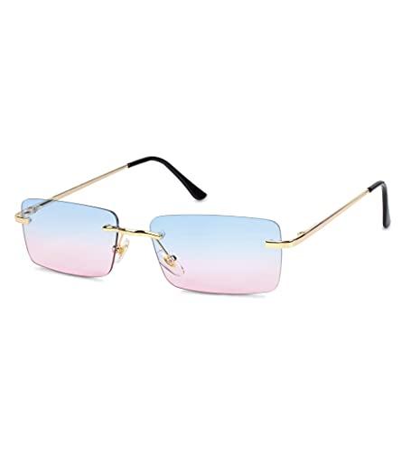 besbomig Vintage Gafas de Sol Rectangulares Sin Montura para Mujer y Hombre - Gafas Retro con Protección UV para Conducir y Deportes al Aire Libre