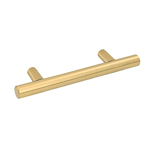 10Pack Gold Cabinet Drawer Pulls Kitchen Hardware - Goldenwarm 201GD76 Brushed Brass Cabinet Handles T Bar Door Pull Knobs 3in Hole Centers, 5in Overall Length