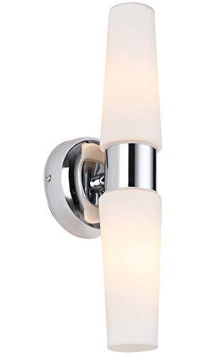 BETLING Wandbeleuchtung IP44 Badlampe Wandleuchte Spiegellampe Schmink Eitelkeit Wandlampe Flurlampe, Chrom mit Opalglas