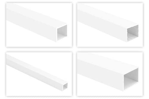 HEXIM Vierkantrohr Kunststoffprofile - Quadrat- & Rechteckrohren, Hohlprofil aus PVC, stabil und widerstandfähig - 2 Meter je Leiste (26x30mm, HJ 225)