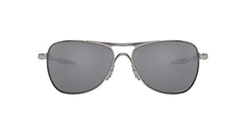 Oakley Men's OO4060 Crosshair Metal Aviator Sunglasses, Lead/Prizm Black Polarized, 61 mm