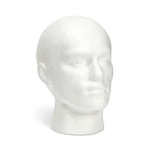 Cabeza de espuma para Peluca - Soporte para Peluca con forma de Maniquí de hombre, espuma blanca de poliestireno, 27 cm x 20 cm x 13 cm