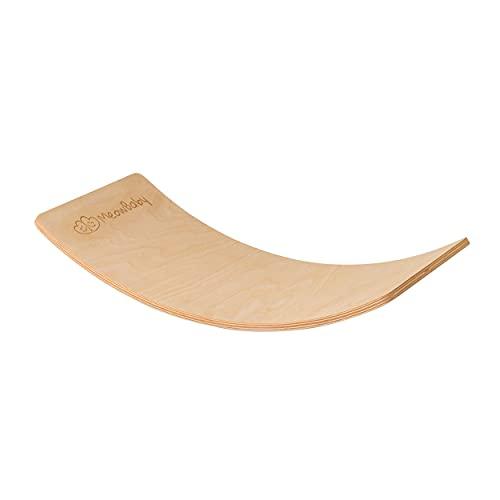 MEOWBABY Balance Board Balancierbrett aus Holz 80x30 cm Wackelbrett für Kinder Gleichgewicht Board