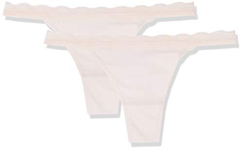 Amazon-Marke: Iris & Lilly String Damen mit Spitzensaum, 2er Pack, Rosa (Blush), XL, Label: XL