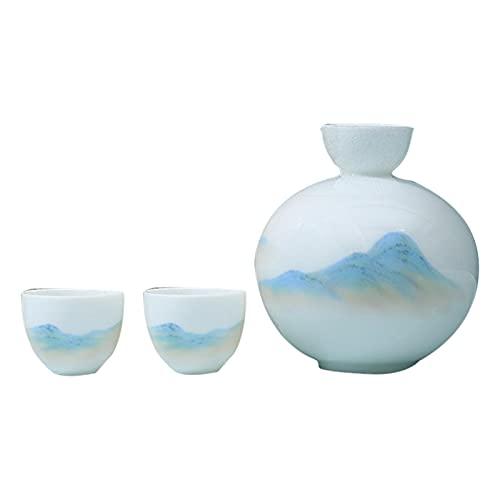 QJN Juego de sake con calentador, juego de vino de cerámica hecho a mano, juego de vino de cerámica hecho a mano chino, jarra de sake de paisaje del hogar