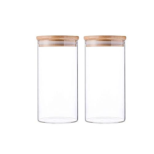 2Pcs Tapa de Bambú - Hermético, Recipientes de Almacenamiento de Cereales, Frascos de Almacenamiento de Vidrio, Recipiente de Cocina Transparente, Juego de Frascos de Vidrio para Almacenamient