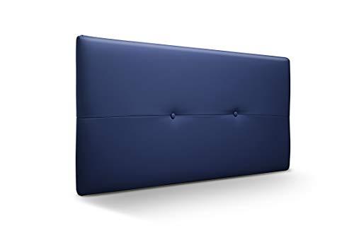 Cabecero de Madera Jazmin, tapizado Acolchado en Polipiel Color Azul. Cabeceros Madera para Dormitorio | Cama Matrimonio | Cama Juvenil | Camas de 105 cm, 90 cm, 80 cm