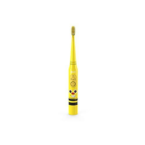 Kinder elektrische Zahnbürste,Elektrische Kinderzahnbürste, Baby Weisheit Sonic elektrische Zahnbürste, austauschbarer Bürstenkopf, geeignet für Kinder von 3-12 Jahren, gelb