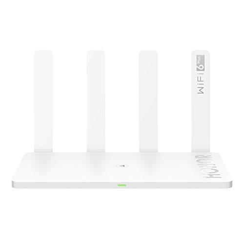HONOR Router 3, 6+ Gigabit 3000 M (2402 Mbit/s, 5 GHz + 574 Mbit/s) 2,4 GHz Ethernet WiFi Wireless Vier Antennen 4 GE WAN/LAN-Anschluss, IPv6, Wi-Fi verstärker Kindersicherung