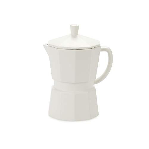 Balvi Mug Moka Color Blanco Mate Taza Grande con Tapa En Forma de cafetera Italiana 350 ml Cerámica 14,5 cm