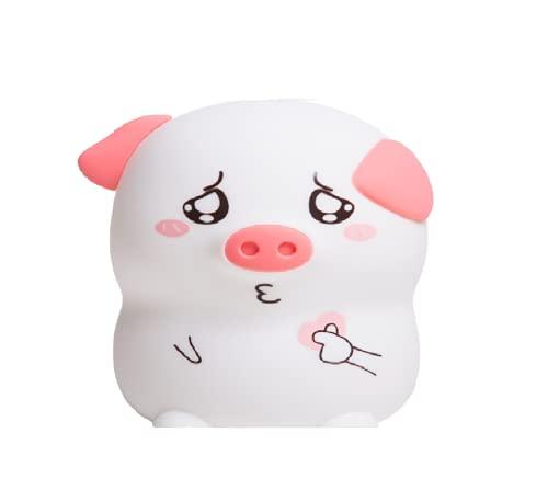Lámpara de silicona recargable USB cerdo luces de guardería con sensor táctil 7-colores modos de respiración portátil bebé LED Pat luz decoración