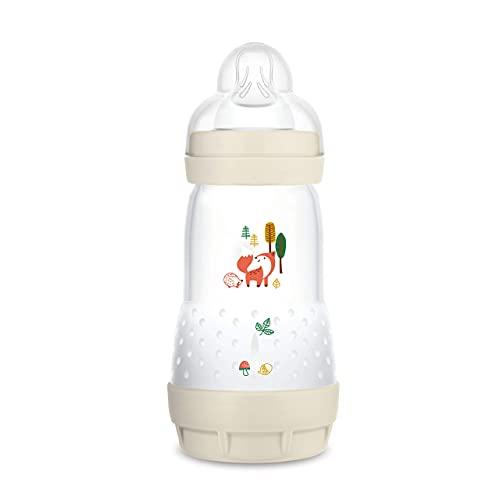 MAM Easy Start Anti-Colic Elements - Biberon da 260 ml, bottiglia per il latte per lallattamento, misura 1, 0 + mesi, volpe– Istruzioni in lingua straniera