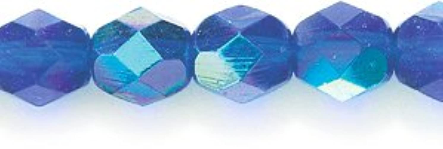 Preciosa Czech Fire 6 mm Faceted Round Polished Glass Bead, Dark Sapphire Aurora Borealis, 150-Pack