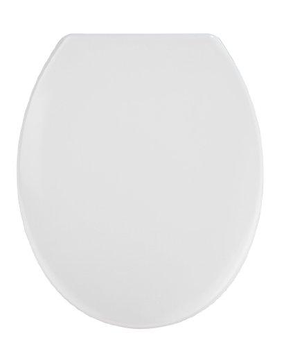 WENKO WC-Sitz Vigone Weiß - Antibakterieller Toilettensitz, rostfreie Edelstahlbefestigung, Duroplast, 37.5 x 45 cm, Weiß