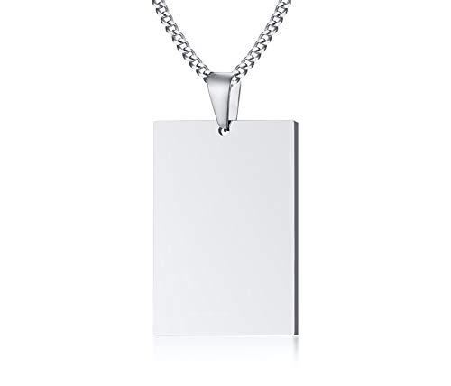 VNOX Nombre de Acero Inoxidable Grabado Rectángulo Personalizado En Blanco Etiqueta de Perro Colgante Collar Personalizado, Cadena Libre