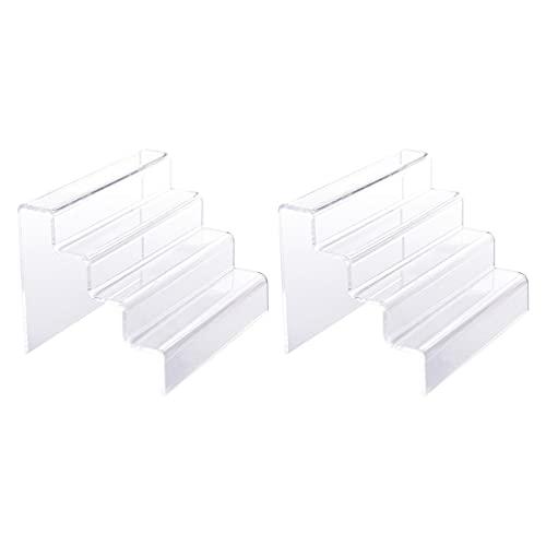 Healifty 2 Stuks Acryl Display Riser Stand 4 Tier Clear Model Cijfers Display Rack Cupcakes Stand Voor Collectibles…