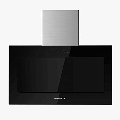 EAS ELECTRIC SMART TECHNOLOGY | EMRH608VRT-N | Campana extractora | Campana de pared | Inclinada | Anchura de 60 cm | Cristal Negro | Táctil | 4 niveles | capacidad de 800 m3/h