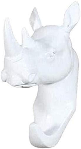 Rhinoceros Head Wall Mount Hanger Resin Coat Hat Hook Rustic White
