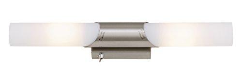 Briloner Leuchten Wandlampe, komfortabler Lichtschalter, LED-fähige Spiegelleuchte, 2-flammige Wandlampe, max. 40 Watt, E14, Länge: 43.5 cm