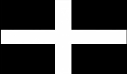 18 x 12 (45 x 30 cm) Cornwall Cornish St Piran Sleeved Boat Courtesy 100% Polyester Material Hand Waving Flag Banner Ideal For Pub Club School Festival Business Party Decoration by UKFlagShop
