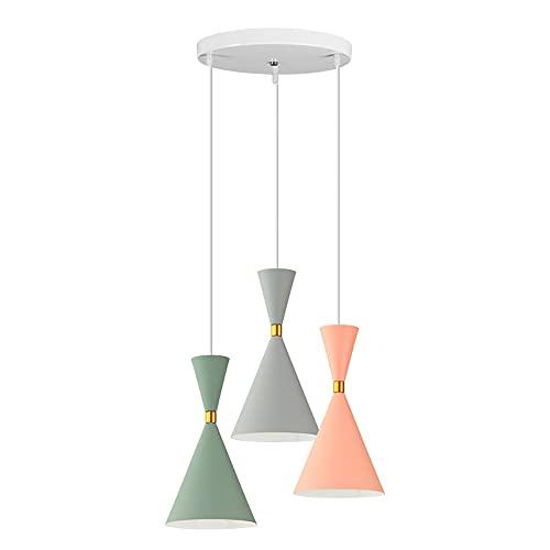 SDFDSSR Lámpara de araña de café Macaron con combinación de 3 Cabezales Lámpara Colgante Colgante Ajustable de Aluminio de Colores Lámpara Colgante de Cocina de Dormitorio Simple Accesorio