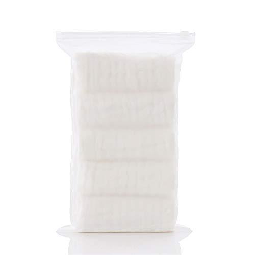 WENSHENG Juego Toallas baño 5pcs / Set Bebé 100% Algodón Lavado Cuadrados Muselina Bebé 6layers Agua Pañuelo Bebé Recién Nacido Toalla Enfermería 30 * 30 Cm, Toallas Set (Color : White)