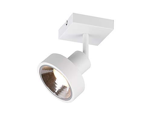 Lámpara de techo y pared LED retro, 1 foco, color blanco mate con pantalla redonda