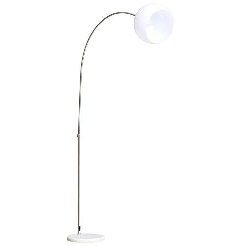 homcom Lampada ad Arco da Terra Regolabile in Altezza e Paralume Flessibile 350°, Bianco e Argento, 94x30x130-180cm