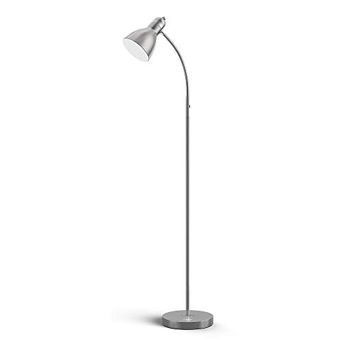 LEPOWER Metal Floor Lamp, Adjustable Goose Neck Standing Lamp with Heavy Metal Based, E26 Lamp Base, Torchiere Light for Living Room, Bedroom, Study Room and Office(Silver)