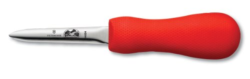 Victorinox 7.6399.4-X1 Oyster Knife 3-Inch Narrow Boston Style Blade, Red SuperGrip Handle