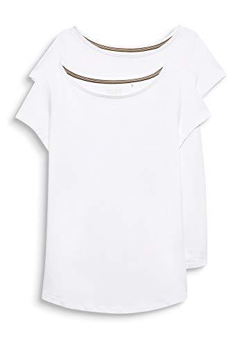 Esprit 999ee1n801 T-Shirt, Blanc (White 100), X-Large (Lot de 2) Femme