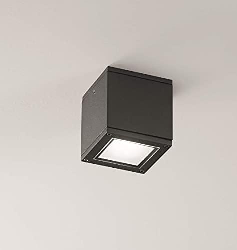 Faretto da soffitto per esterni gu10 led cubo metallo grigio antracite squadrato ip54 Garanzia 5 anni