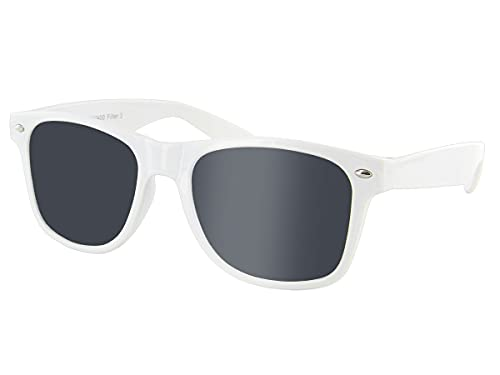 Alsino Gafas de sol retro vintage de alta calidad con protección UV 400, marco de plástico en diferentes colores, para hombre y mujer., Blanco,