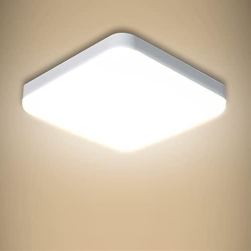 Yafido Plafoniera LED Soffitto 30W, 2400LM Lampadario camera da Letto LED 4000K Lampada quadrata Plafoniera LED Moderno 25cm Lampada a filo con IP56 per bagno,corridoio, balcone