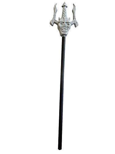 Tridente del diablo - muerte - calavera gris - extraíble - 51 cm - accesorios - disfraz - halloween - carnaval - fiestas - niños - adultos - unisex - idea de regalo para navidad y cumpleaños