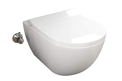Aqua Bagno | Taharet WC | Inkl. flachem Softclose Sitz | Dusch-WC | Hänge-WC | Toilette mit Bidet-Funktion | Tiefspülklosett | Keramik | Spülrandlos | 510 x 352 x 340 mm