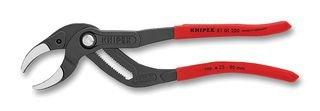 Knipex 81 01 250 Connectorenzange SpeedGrip (für Siphons, Kunststoffrohre und Connectoren, schwarz atramentiert, mit rutschhemmendem, Kunststoff überzogen, 250 mm), Rot