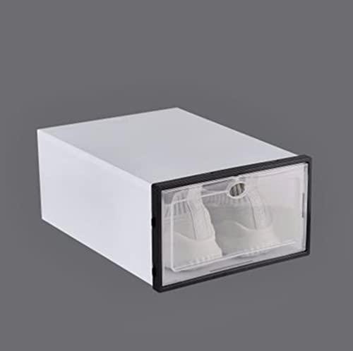 Caja de zapatos transparente de 6 piezas, cajón de almacenamiento, caja engrosada, cajas de plástico para zapatos, caja apilable, organizador de zapatos, caja de zapatos-L, negro