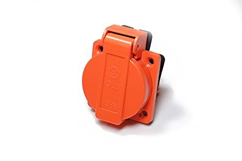 8 unidades / enchufes empotrables Schuko 16 A con IP54 / + junta de brida (naranja)