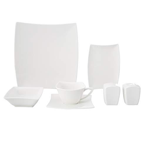 KARACA - Perfect White 32 TLG Weiß Porzellan Geschirrset Set 6 Personen, Kombiservice mit 6 Speiseteller,6 Kaffeetassen,6 Untertassen,6 Kaffeelöffel,2 Schalen,4 Schalen,1 Salzstreuer,1 Pfefferstreuer