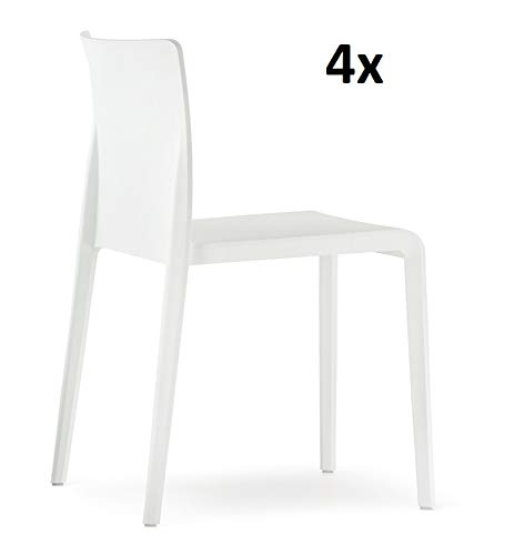 Pedrali Volt hb 673 Chair, White, Set of 4, Chairs without Armrests at Set Price, in & Outdoor Chair